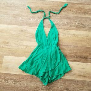 NWT Fashion Nova Green Halter Romper XS